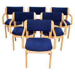 Set of 6 Blue and Beechwood Chairs by Farstrup Furniture