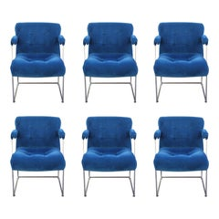 Set of 6 Blue Velvet and Chrome Milo Baughman Thayer Coggin Dining Chairs