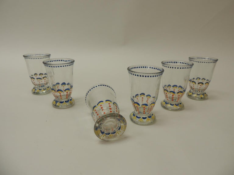 Hand-Crafted Set of '6' Bohemian Blue and Orange Hand Painted Juice Glasses For Sale