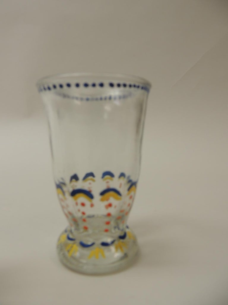 Set of '6' Bohemian Blue and Orange Hand Painted Juice Glasses In Good Condition For Sale In Fort Lauderdale, FL