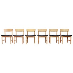 Set of 6 Borge Mogensen Model 3236 Black Leather Dining Chairs