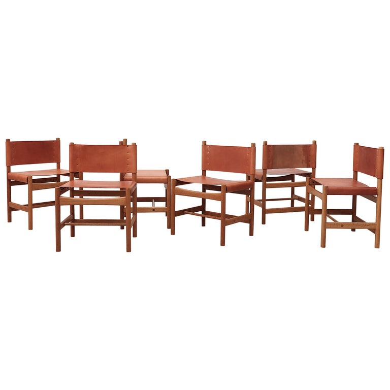 "Set of 6 Borge Mogensen No. 3251 ""Hunting"" Chairs For Sale"