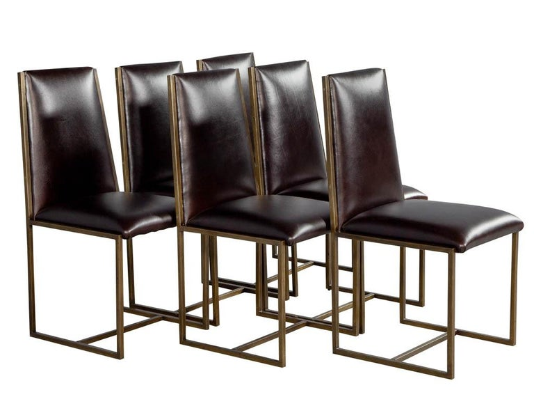 Modern Set of 6 Brass Dining Chairs by Mastercraft For Sale