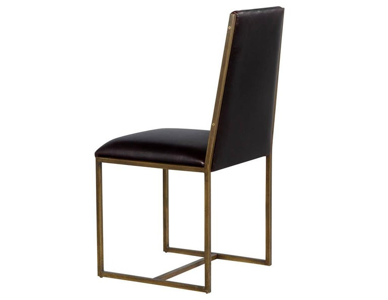 Set of 6 Brass Dining Chairs by Mastercraft In Good Condition For Sale In North York, ON