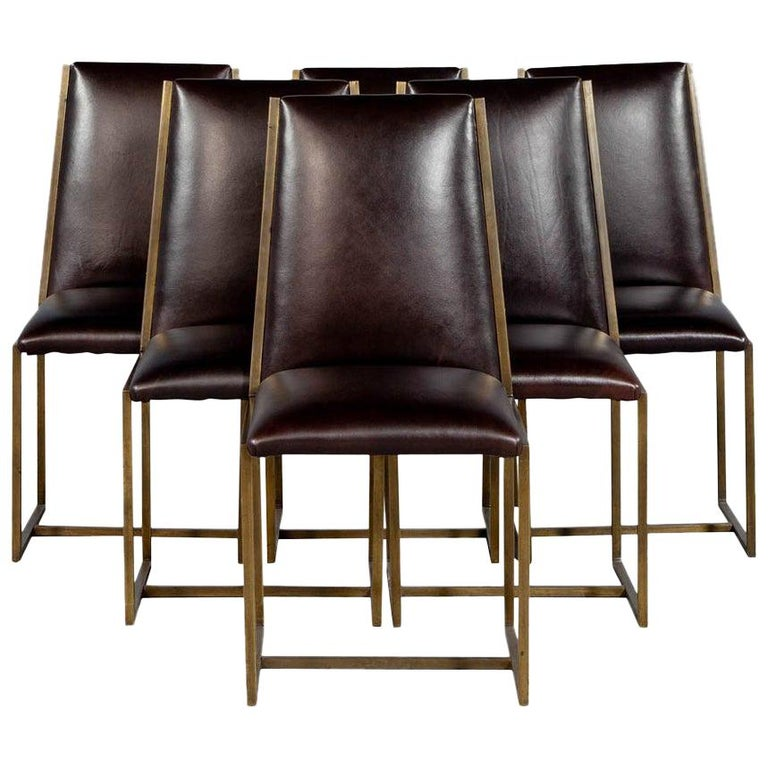 Set of 6 Brass Dining Chairs by Mastercraft For Sale