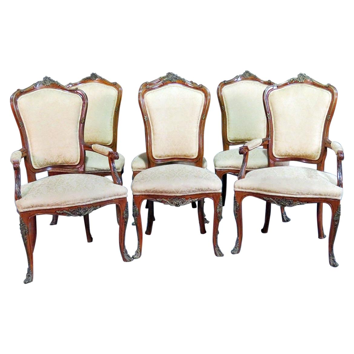 Set of Six Side French Dining Room Chairs Style of Linke