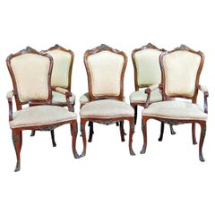 Set of 6 Bronze Mounted Francois Linke Style Walnut Dining Chairs
