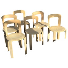 Set of 6 Bruno Rey Dietiker Mobilier International Natural Chairs, 1970