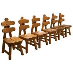 Set of 6 Brutalist Chairs in Solid Oak, Spain, 1970s