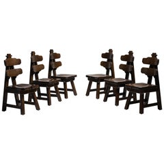 Set of '6' Brutalist Oak Dining Chairs, France, circa 1970