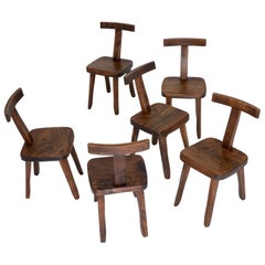 Set of 6 Brutalistic, Minimalistic Dining or Side Chairs Made of Elm Wood