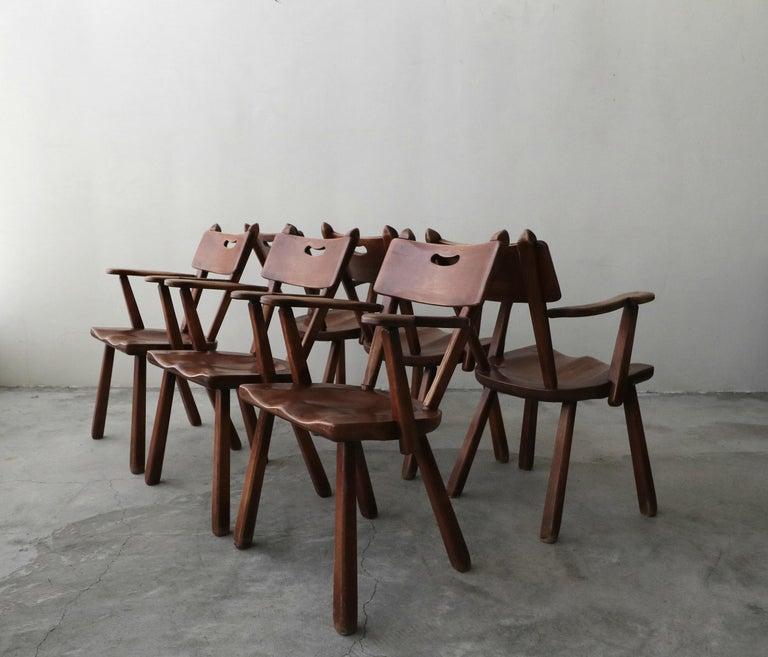 Minimalist Set of 6 California Modern Studio Craft Primitive Wood Dining Chairs For Sale