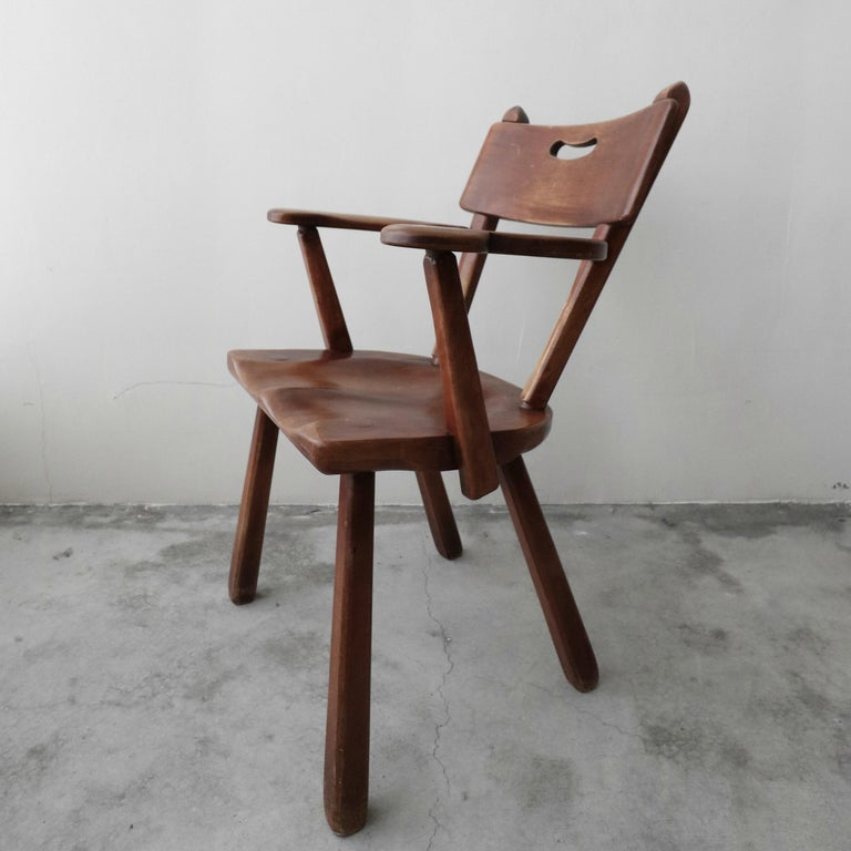 20th Century Set of 6 California Modern Studio Craft Primitive Wood Dining Chairs For Sale