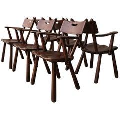 Set of 6 California Modern Studio Craft Primitive Wood Dining Chairs