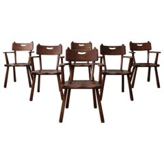 Set of 6 California Modern Studio Craft Primitive Wood Dining Chairs