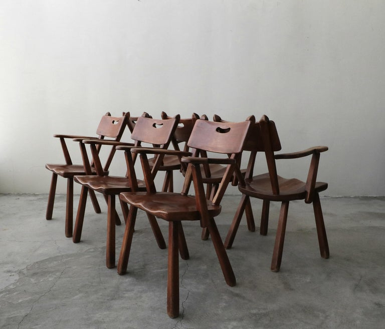 Minimalist Set of 6 California Studio Craft Primitive Wood Dining Chairs For Sale