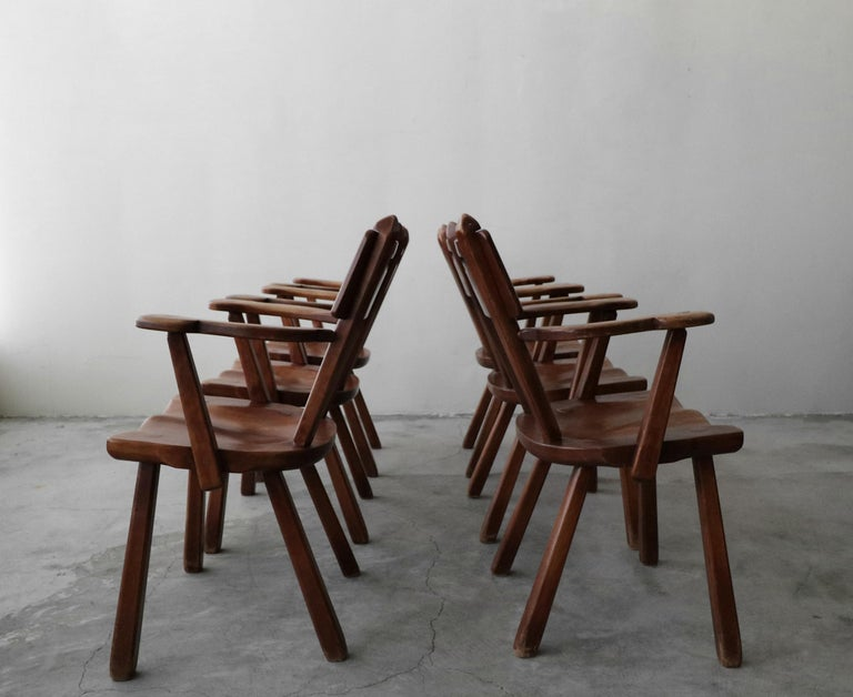 Set of 6 California Studio Craft Primitive Wood Dining Chairs In Good Condition For Sale In Las Vegas, NV
