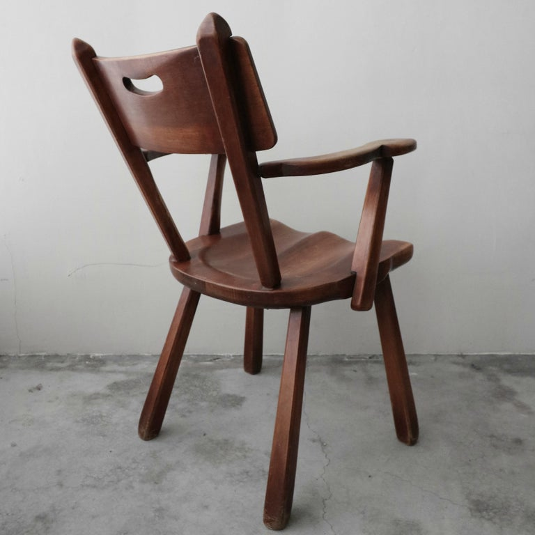 Maple Set of 6 California Studio Craft Primitive Wood Dining Chairs For Sale
