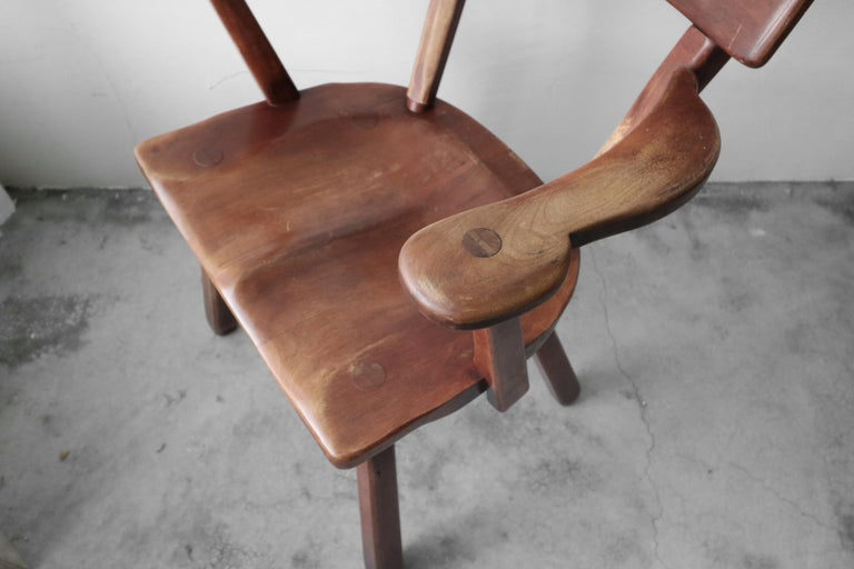 Set of 6 California Studio Craft Primitive Wood Dining Chairs For Sale 1