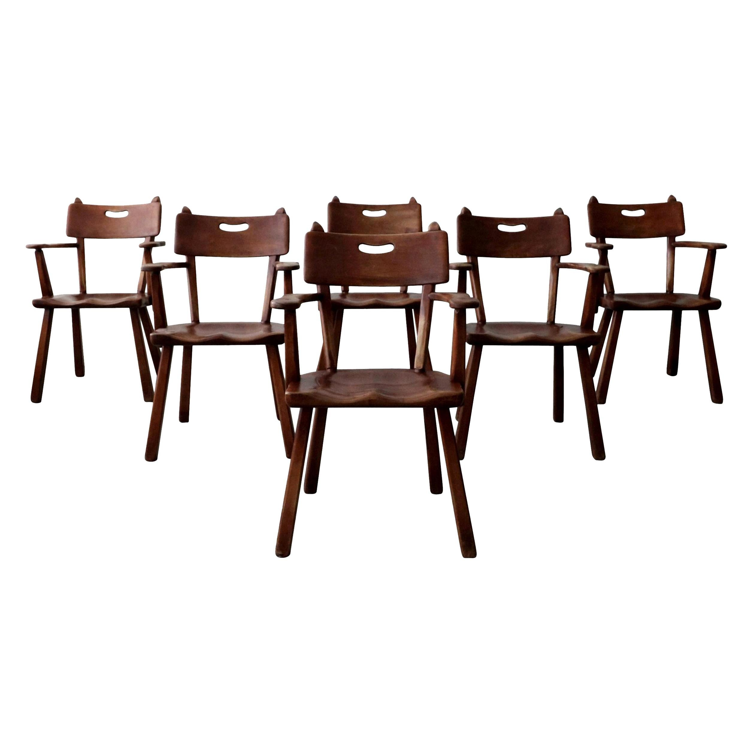 Set of 6 California Studio Craft Primitive Wood Dining Chairs