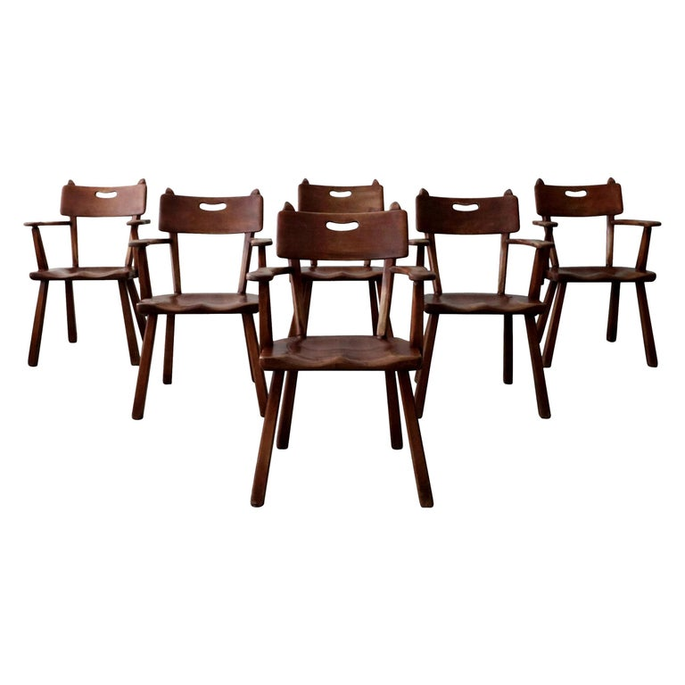 Set of 6 California Studio Craft Primitive Wood Dining Chairs For Sale