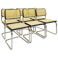 Set of 6 Cane and Chrome Chairs, 1970s, Italy