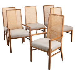 Set of 6 Cane Mid-Century Style Dining Chairs