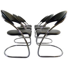 Set of 6 Cantilevered Chairs Thonet Bauhaus Model ST14 Hans Luckhardt