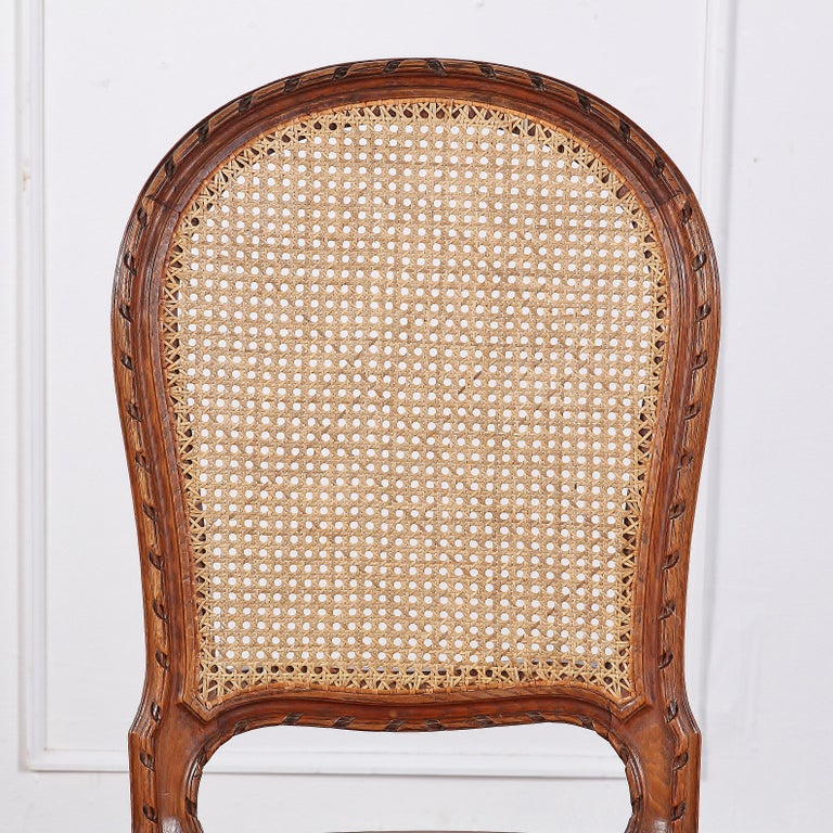 Set of 6 Carved Oak Louis XVI Dining Chairs For Sale 4