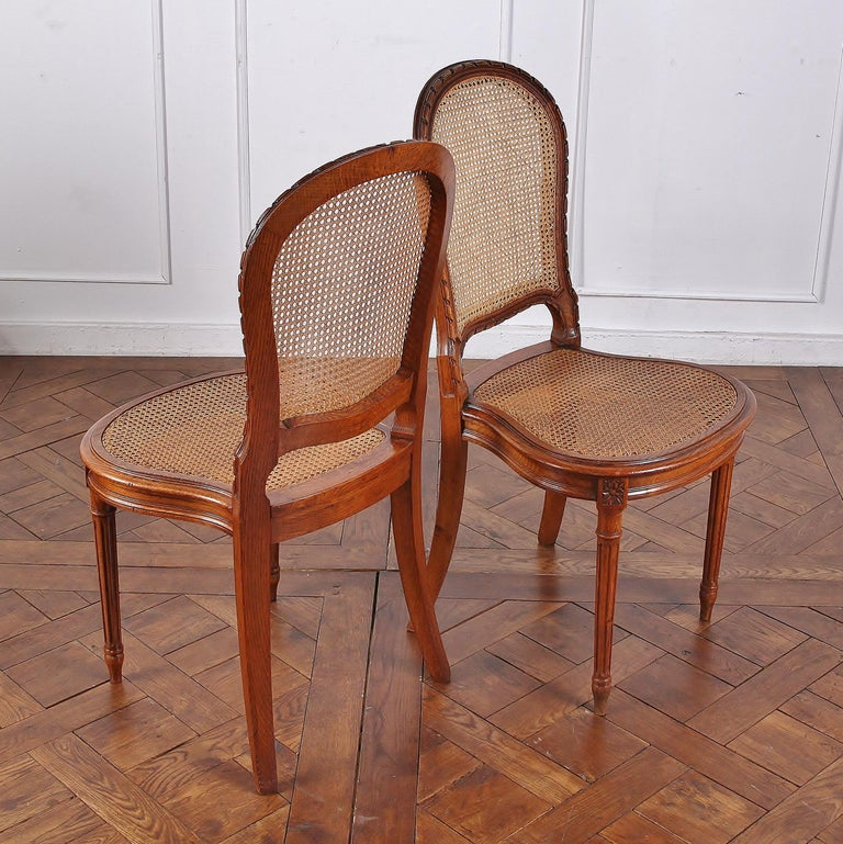Hand-Carved Set of 6 Carved Oak Louis XVI Dining Chairs For Sale