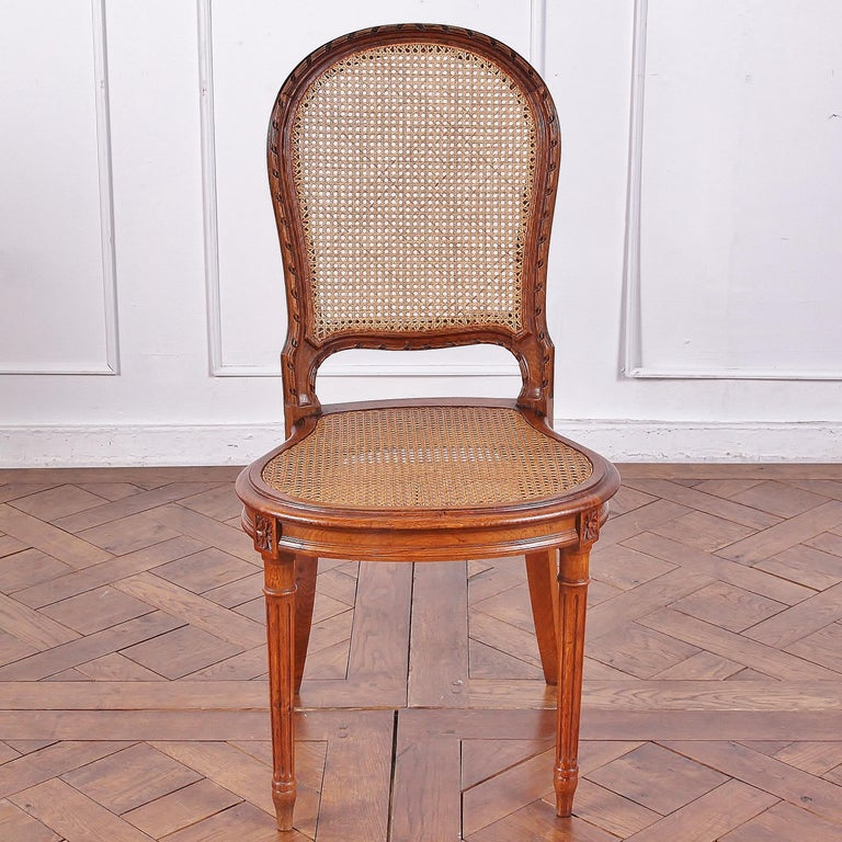 Set of 6 Carved Oak Louis XVI Dining Chairs In Good Condition For Sale In Vancouver, British Columbia