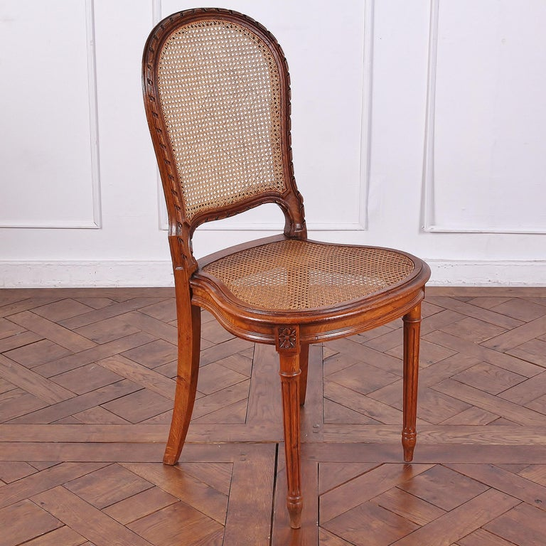 19th Century Set of 6 Carved Oak Louis XVI Dining Chairs For Sale