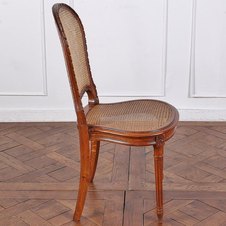 Cane Set of 6 Carved Oak Louis XVI Dining Chairs For Sale