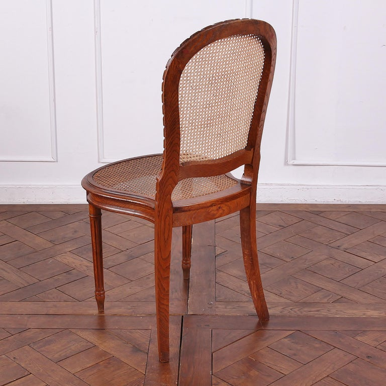 Set of 6 Carved Oak Louis XVI Dining Chairs For Sale 1