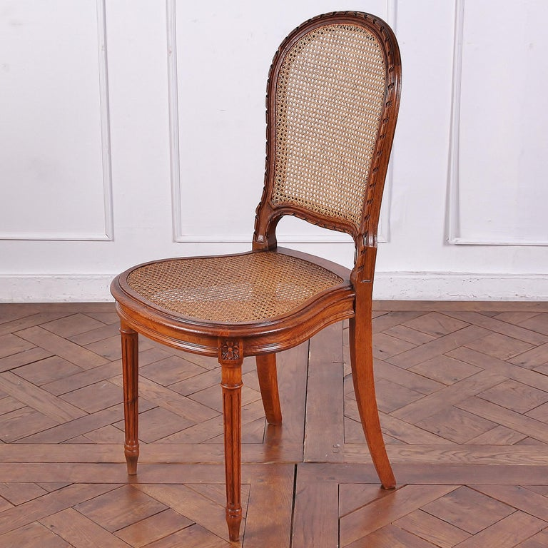Set of 6 Carved Oak Louis XVI Dining Chairs For Sale 2
