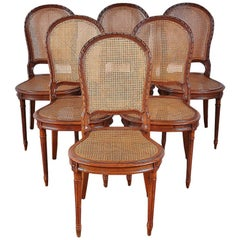 Set of 6 Carved Oak Louis XVI Dining Chairs