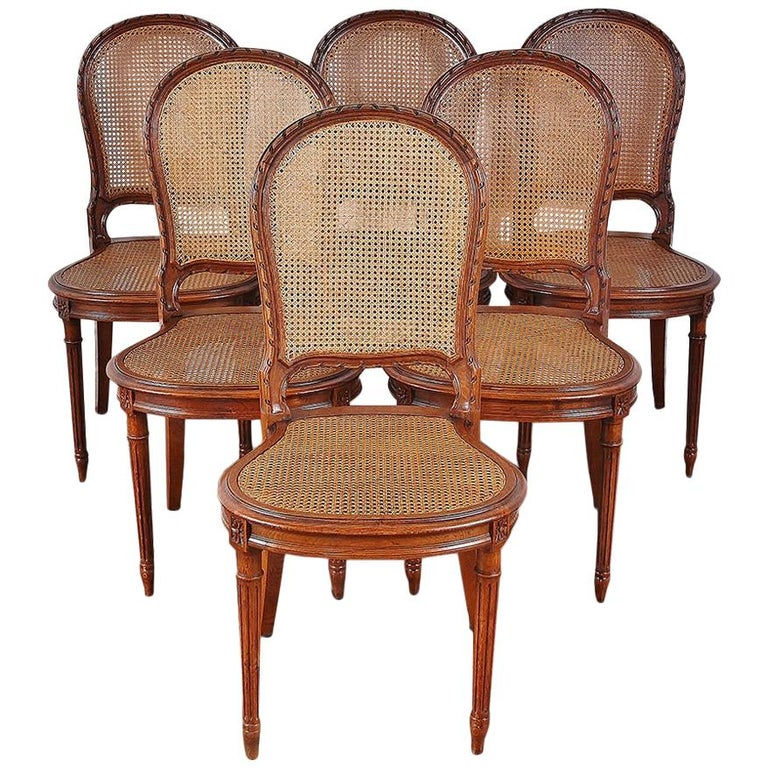 Set of 6 Carved Oak Louis XVI Dining Chairs For Sale