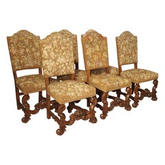 Set of 6 Carved Walnut Wood Dining Chairs from Lombardy, Late 19th Century