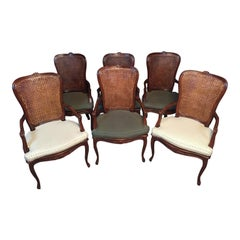 Set of 6 Carved Wood and Caned Dining Arm Chairs With Green and White Cusions