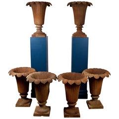 Set of 6 Cast Iron Garden Vases in the Regency Style
