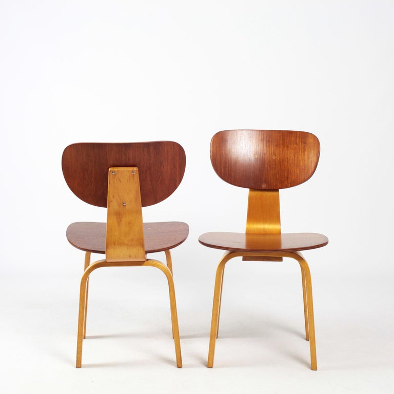 Mid-20th Century Set of 6 Cees Braakman Dining Chairs Model SB13 Combex Series for Pastoe For Sale