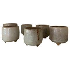 Set of 6 Celadon Incense Burner Pots