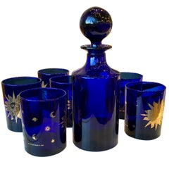 "Set of 6 ""Celestial"" Blue and Gold Cocktail Glasses & Decanter with Ball Stopper"