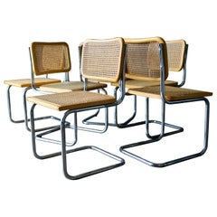 Set of 6 Cesca Cane and Bentwood Dining Chairs by Marcel Breuer, ca. 1960