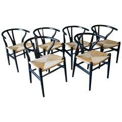 Set of 6 CH-24 Wishbone Chairs by Hans Wegner in Ebonized Oak
