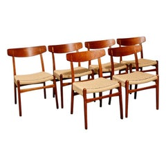 Set of 6 CH23 Teak and Oak Dining Chairs by Hans Wegner