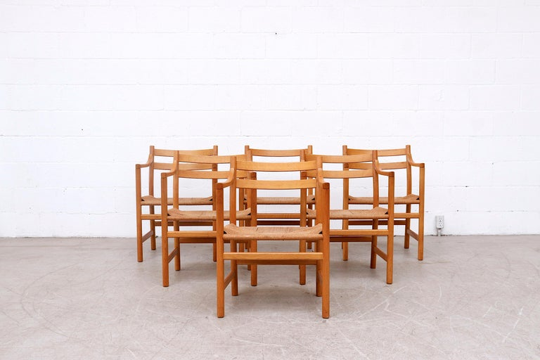 Mid-Century Modern Set of 6 'CH46' Oak Dining or Armchairs by Hans J. Wegner For Sale
