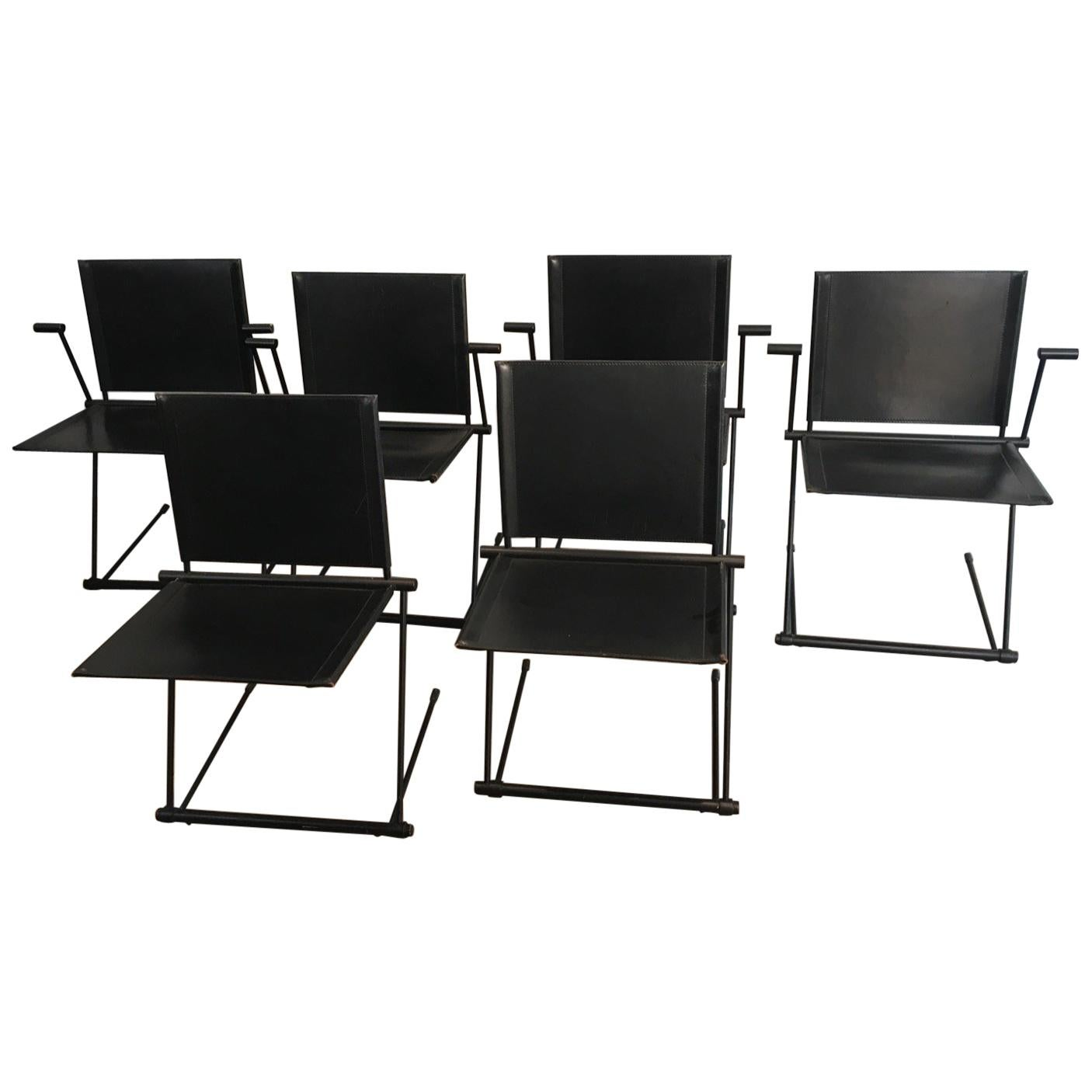Set of 6 Chairs. Black Lacquered Metal and Leather Chairs and Armchairs