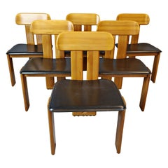 Set of 6 Chairs in Black Leather by Tobia & Afra Scarpa for Maxalto