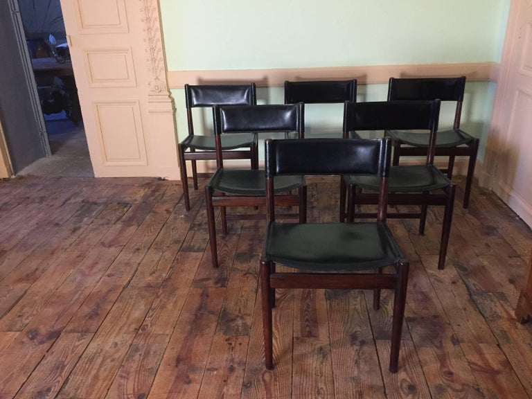Set of Six Chairs in Rosewood by Arne Vodder for Sibast, 1960 In Good Condition For Sale In Paris, FR